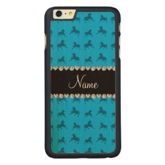 Personalized name sky blue horse pattern carved® maple iPhone 6 plus case