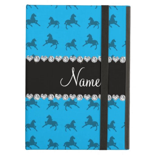 Personalized name sky blue horse pattern iPad air cases