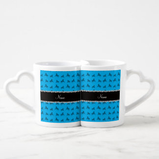 Personalized name sky blue horse pattern lovers mug