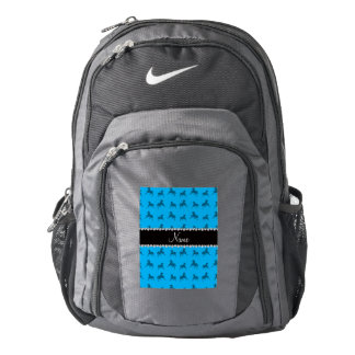 Personalized name sky blue horse pattern backpack