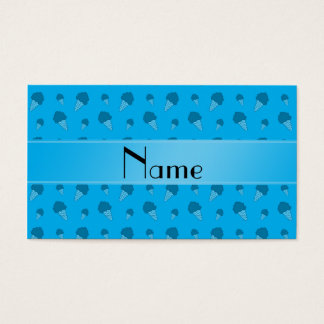 Personalized name sky blue ice cream pattern business card
