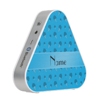 Personalized name sky blue ice cream pattern bluetooth speaker