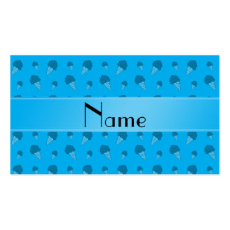 Personalized name sky blue ice cream pattern pack of standard business cards