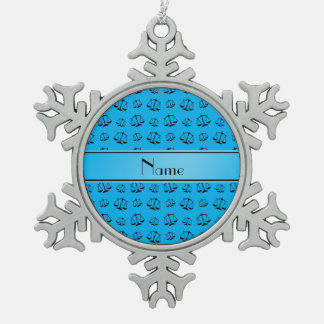 Personalized name sky blue justice scales snowflake pewter christmas ornament