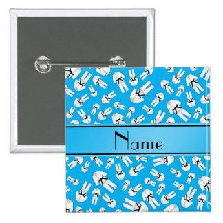 Personalized name sky blue karate pattern pinback button