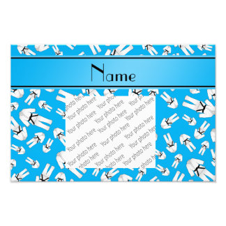 Personalized name sky blue karate pattern photograph