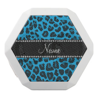 Personalized name sky blue leopard white boombot rex bluetooth speaker