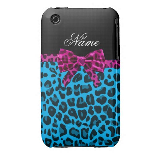 Personalized name sky blue leopard print pink bow iPhone 3 Case-Mate case