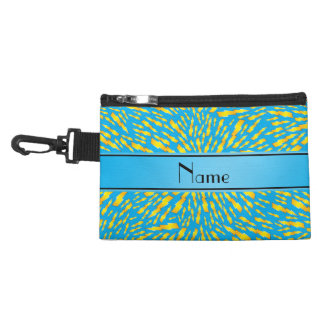Personalized name sky blue lightning bolts accessory bag