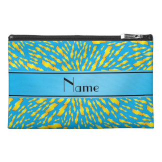 Personalized name sky blue lightning bolts travel accessories bags