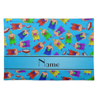 Personalized name sky blue mexican wrestling placemat