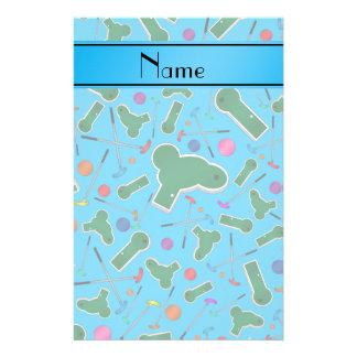 Personalized name sky blue mini golf custom stationery