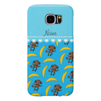 Personalized name sky blue monkey bananas samsung galaxy s6 cases