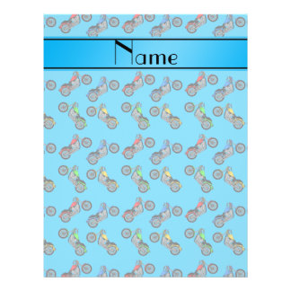 Personalized name sky blue motorcycles 21.5 cm x 28 cm flyer