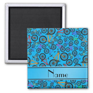 Personalized name sky blue mountain bikes refrigerator magnets
