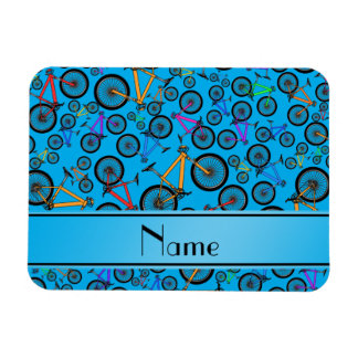 Personalized name sky blue mountain bikes rectangle magnet