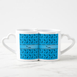 Personalized name sky blue music notes couple mugs