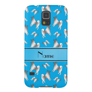Personalized name sky blue Norwegian Elkhound dogs Galaxy S5 Case
