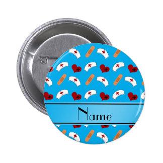 Personalized name sky blue nurse pattern 6 cm round badge