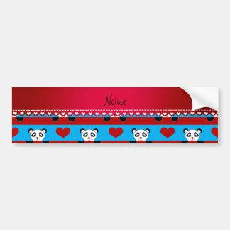 Personalized name sky blue panda red heart stripes bumper sticker