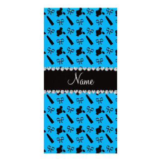 Personalized name sky blue perfume lipstick bows personalised photo card