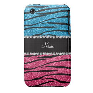 Personalized name sky blue pink glitter zebra iPhone 3 Case-Mate case