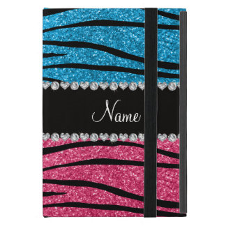 Personalized name sky blue pink glitter zebra iPad mini cover