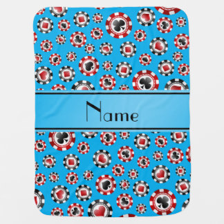 Personalized name sky blue poker chips baby blanket