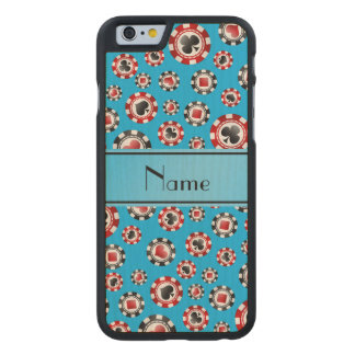 Personalized name sky blue poker chips carved® maple iPhone 6 case