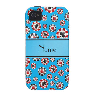 Personalized name sky blue poker chips vibe iPhone 4 cases