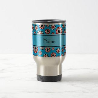 Personalized name sky blue poker chips mug