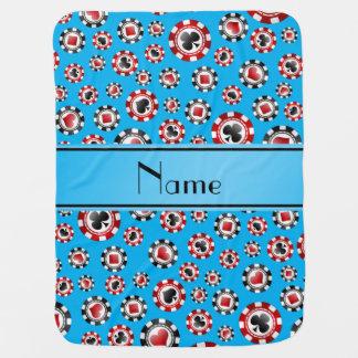 Personalized name sky blue poker chips pramblankets