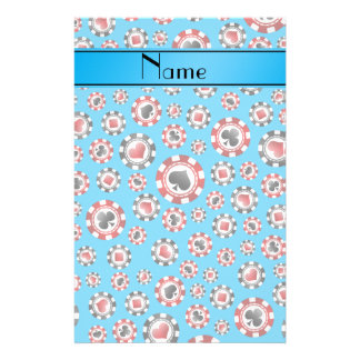 Personalized name sky blue poker chips stationery paper