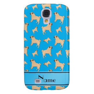 Personalized name sky blue Pug dogs Galaxy S4 Case