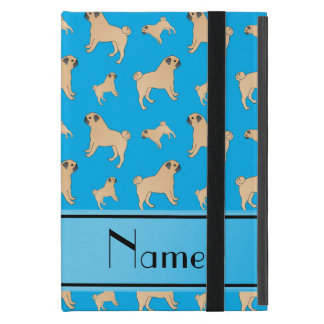 Personalized name sky blue Pug dogs iPad Mini Case