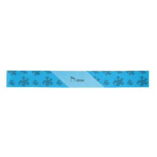 Personalized name sky blue puzzle satin ribbon