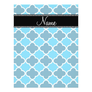 Personalized name sky blue quatrefoil pattern personalized flyer