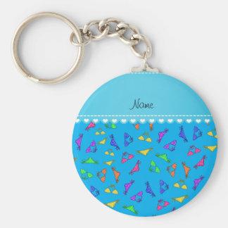 Personalized name sky blue rainbow bikinis basic round button key ring