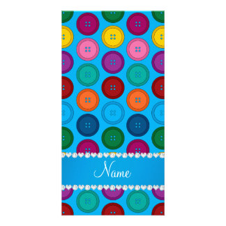 Personalized name sky blue rainbow buttons pattern personalized photo card