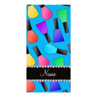 Personalized name sky blue rainbow nail polish photo card
