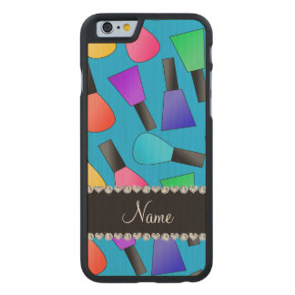 Personalized name sky blue rainbow nail polish carved® maple iPhone 6 slim case