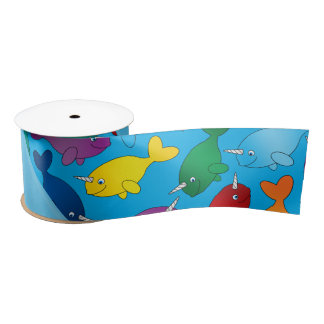 Personalized name sky blue rainbow narwhals satin ribbon
