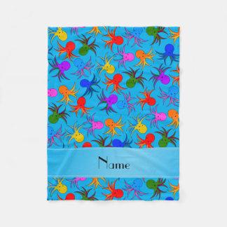 Personalized name sky blue rainbow octopus fleece blanket