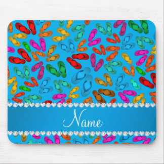 Personalized name sky blue rainbow sandals mouse pad