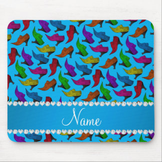 Personalized name sky blue rainbow vintage shoes mouse pad