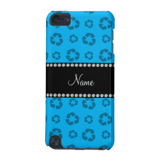 Personalized name sky blue recycling pattern iPod touch 5G cases