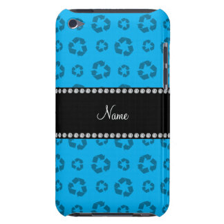 Personalized name sky blue recycling pattern iPod touch cover