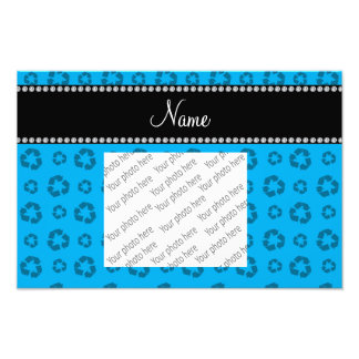 Personalized name sky blue recycling pattern art photo