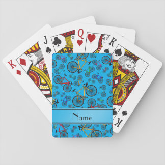 Personalized name sky blue road bikes playing cards