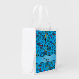 Personalized name sky blue road bikes reusable grocery bag